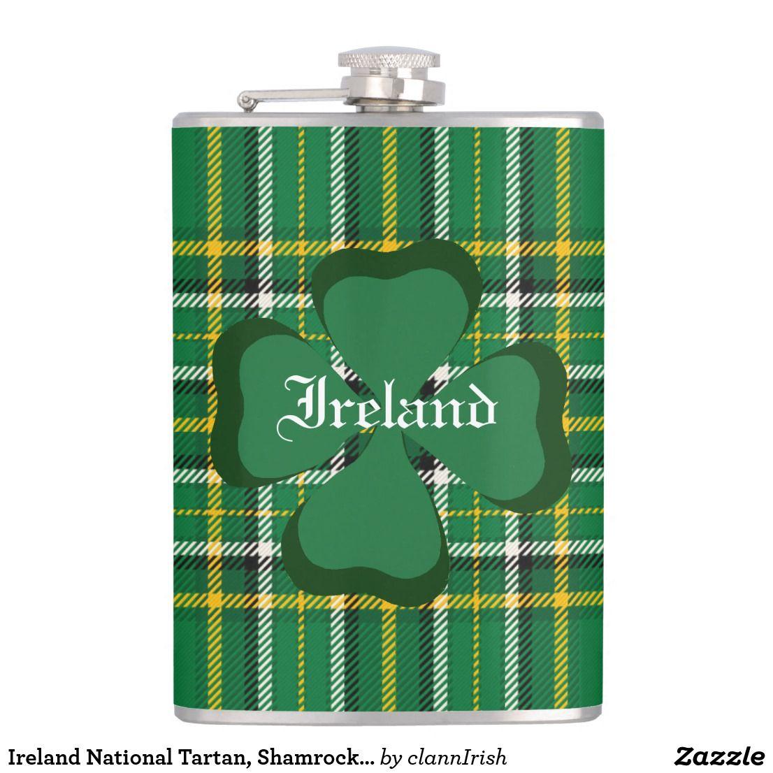 Ireland National Tartan, Shamrock Customize name Flask
