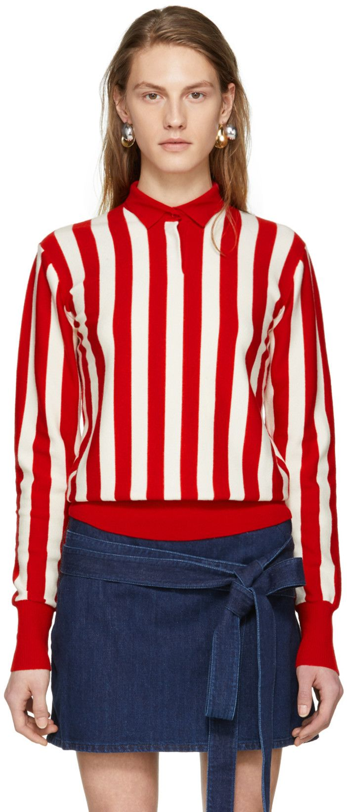 JW Anderson Red & Ecru High Neck Knit Pullover Knitted