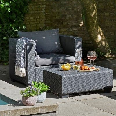 Salta Outdoor Resin Patio Armchair With Cushions Graphite