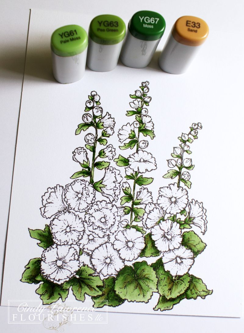 Hollyhocks-4-Copic-Stage-1---OHS | card making videos | Pinterest ...