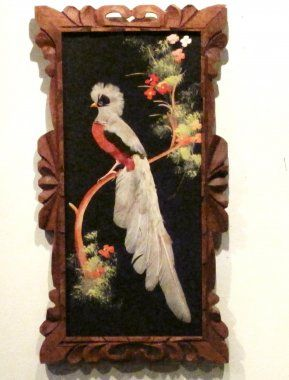 mexico feather art vintage 1940 | Vintage Bird God Feather Floral Hand Made Wood Carved Frame Art - $300 ...