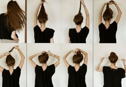 This hairstyle is quick and easy to acheive! 1. Massage your favorite hair product into your hair after showering. 2. Twist hair and hold it up vertically. 3. Begin to twist and rotate your hair down toward the crown of your hair. 4. Wrap your hair around itself to create the bun. 5. Using bobby pins, secure the bun into place. 6. Arrange loose hair around the neck & face to create a clean but tousled look.