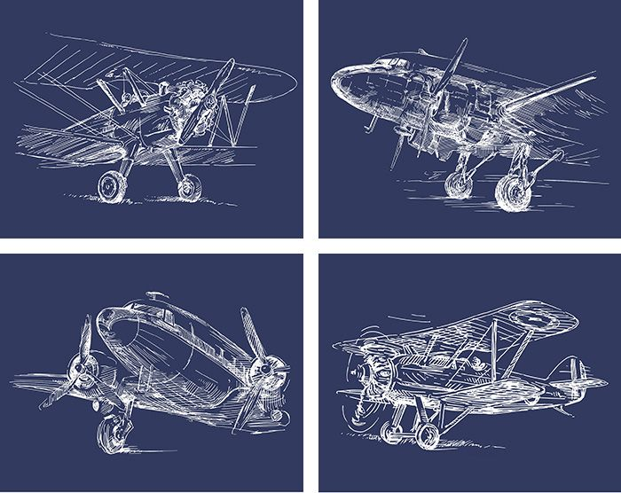 Vintage Sketch Airplane Posters {set of 4 Blueprint art, Airplanes - new no blueprint meaning