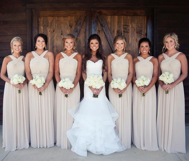 Vanilla colored bridesmaid dresses + white wedding bouquets #bridesmaids #neutralbridesmaids