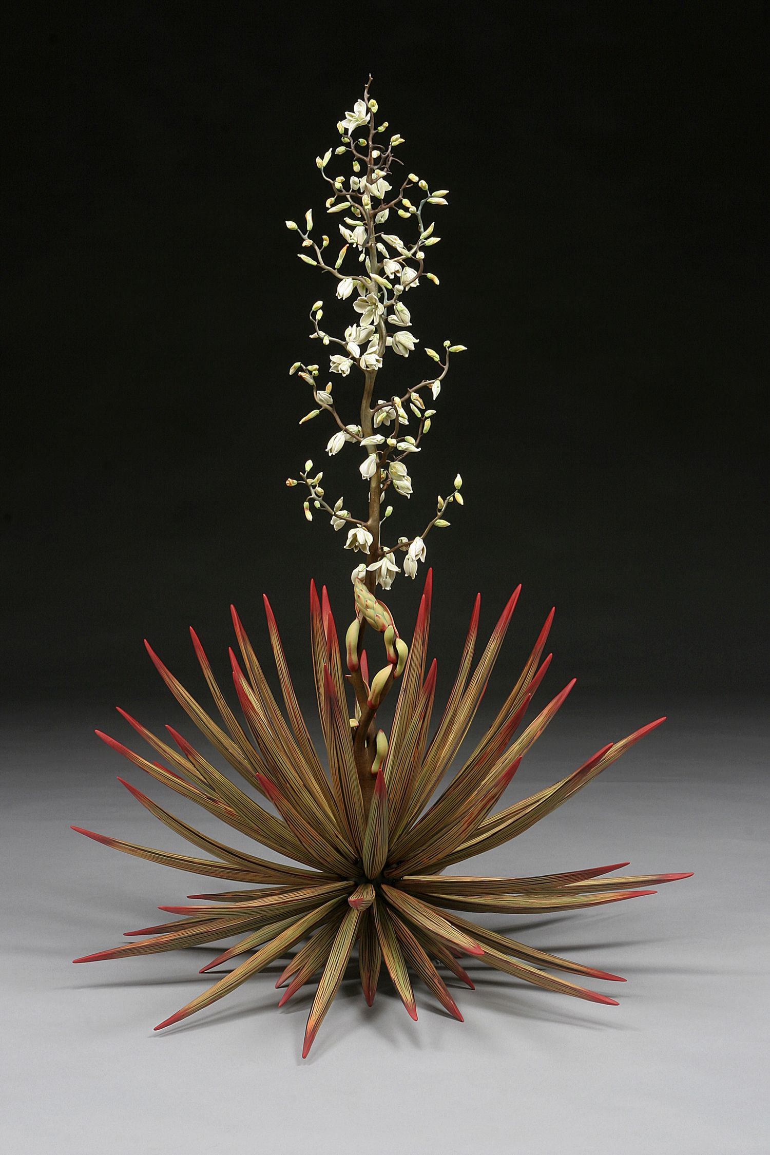 Michael Sherrill Yucca Temple of the Cool Beauty, 54%22h x 38%22w, Silica bronze, porcelain with abraded glaze, Moretti glass.jpg