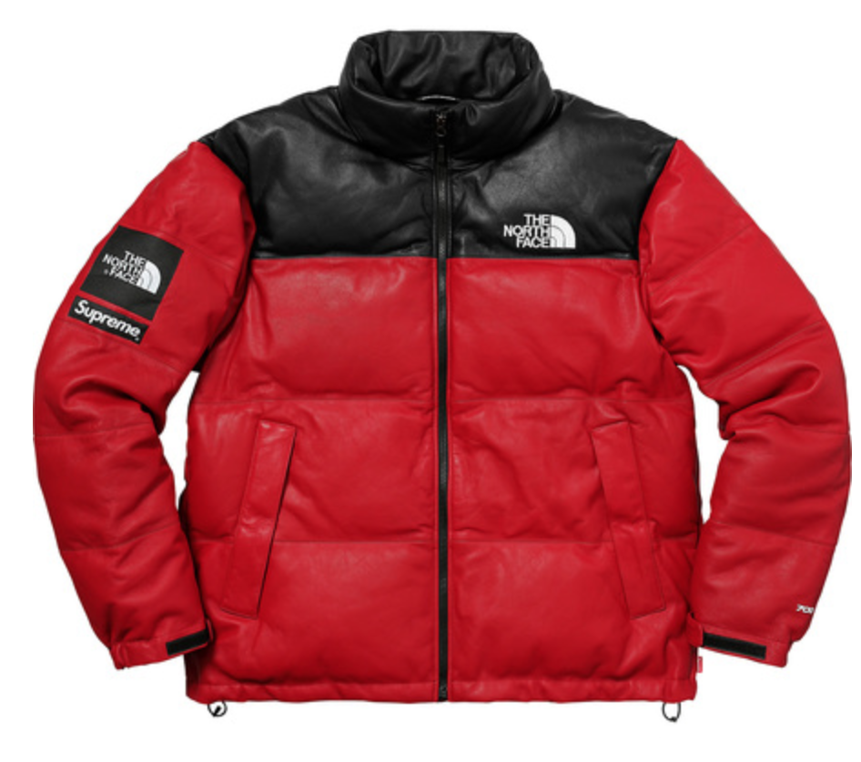 Supreme X The North Face Leather Nuptse Jacket Fw17 Red Large Confirmed Leather Jacket Men North Face Puffer Jacket Mens Jackets [ 838 x 946 Pixel ]
