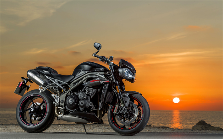 Download Wallpapers 4k, Triumph Speed Triple RS, Sunset
