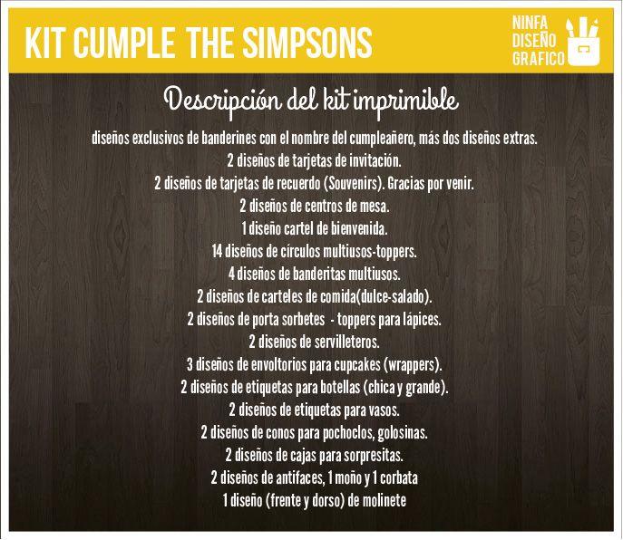#kit #simpson #homero #lisa #bart #chicos #cumple #fiesta #diseño #kitpersonalizado #decoracion #tarjetas #banderines #imprimibles #candybar #toppers #invitaciones #descripcion