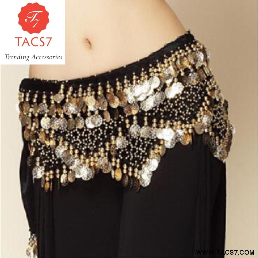 Belly dance belt 3 Row Hip Wrap Scarf Skirt Belt Dancing Costume Gold Coins/&Bead