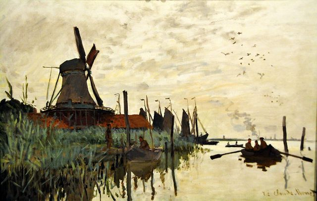 Claude Monet - Windmill and Boats near Zaandam, Holland - Ny Carlsberg Glyptotek Copenhagen, via Flickr.