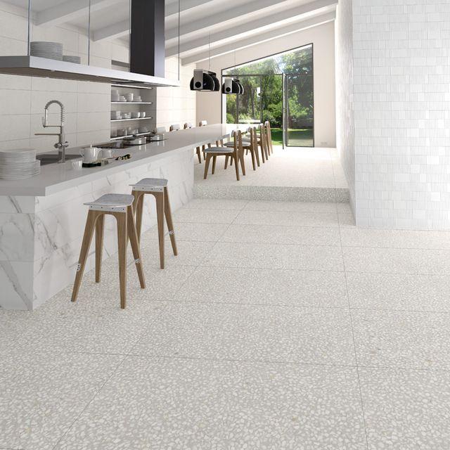 Source pure white polished terrazzo flooring material on m for Design terrazzo