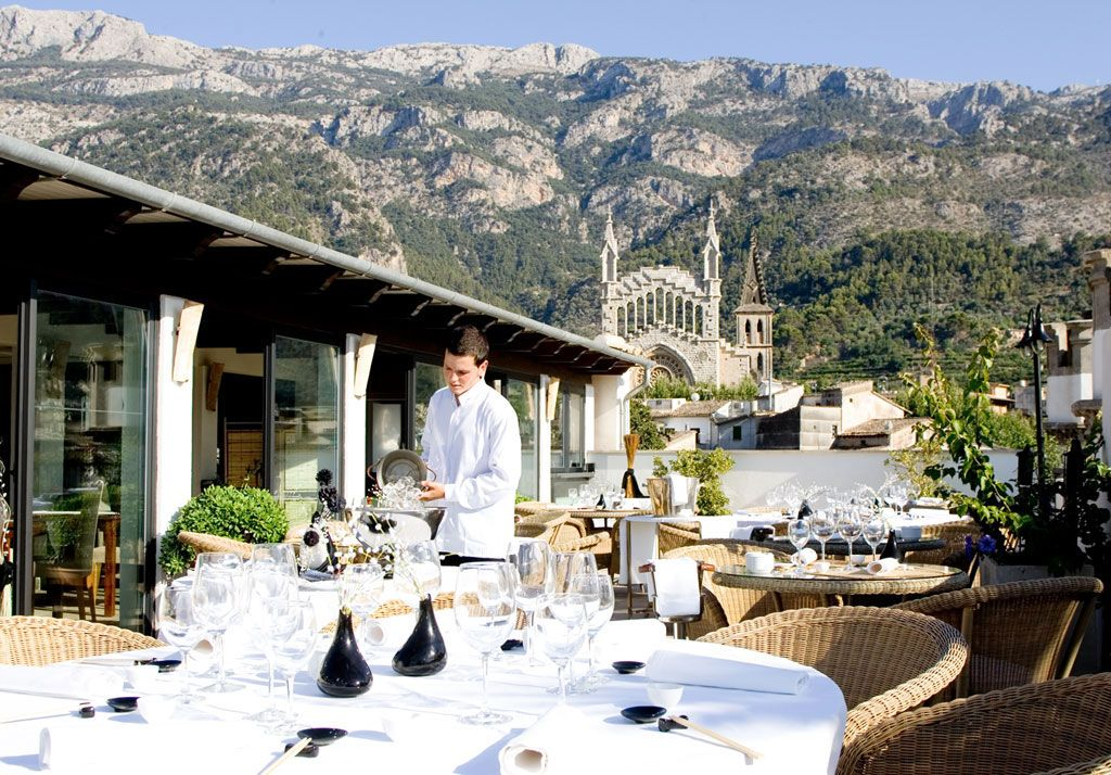 Gran Hotel Soller. Majorca. Stunning views from dining terrace. I loved it there.