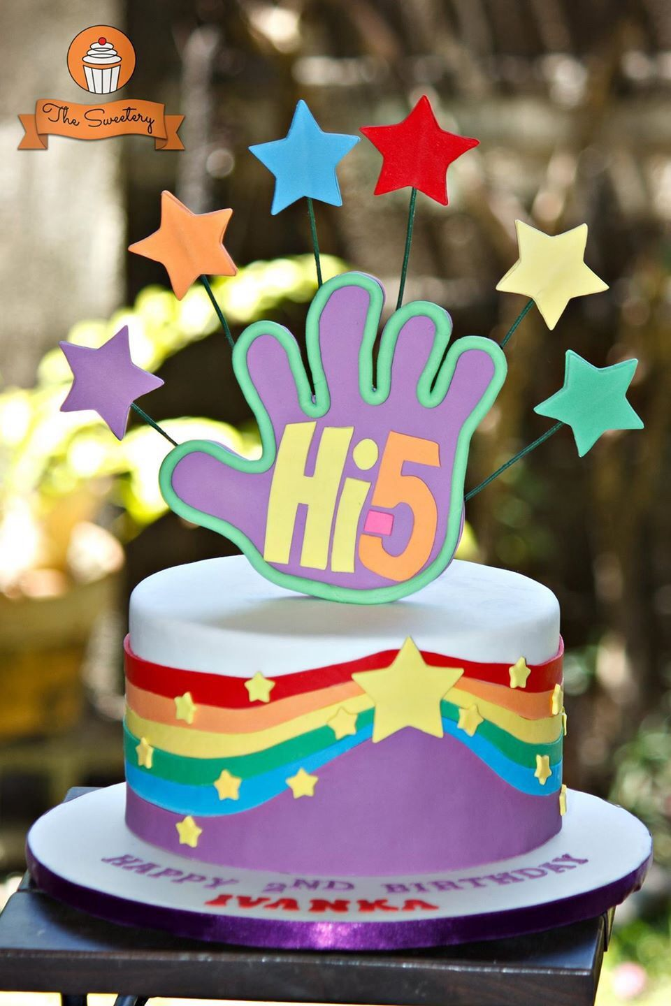 Hi 5 Rainbow Birthday Cake