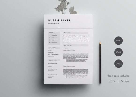 3 Page Resume Template INDD + DOCX by Basic Creations on