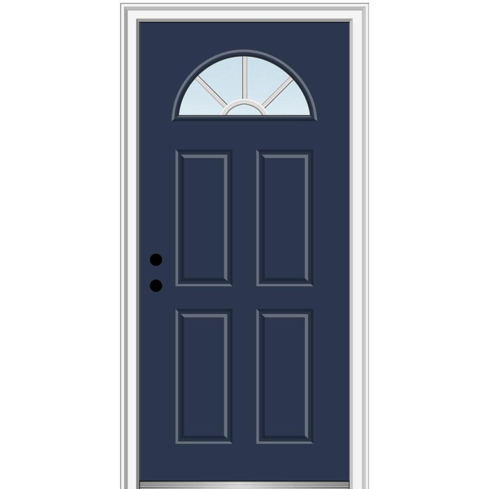 Mmi Door 32 In X 80 In Grilles Between Glass Right Hand Inswing 1 4 Lite Clear Painted Fiberglass Smooth Prehung Front Door Z011516r Mmi Door