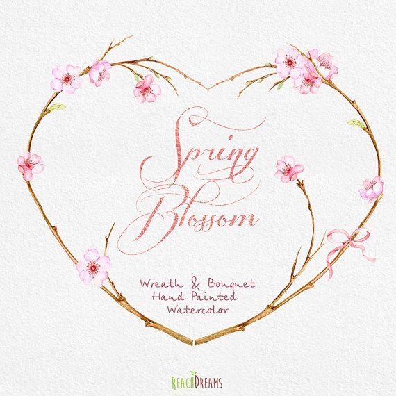 Spring Wreath Bouquet Flowers Clipart Handpainted Watercolor Wedding Floral Invitations