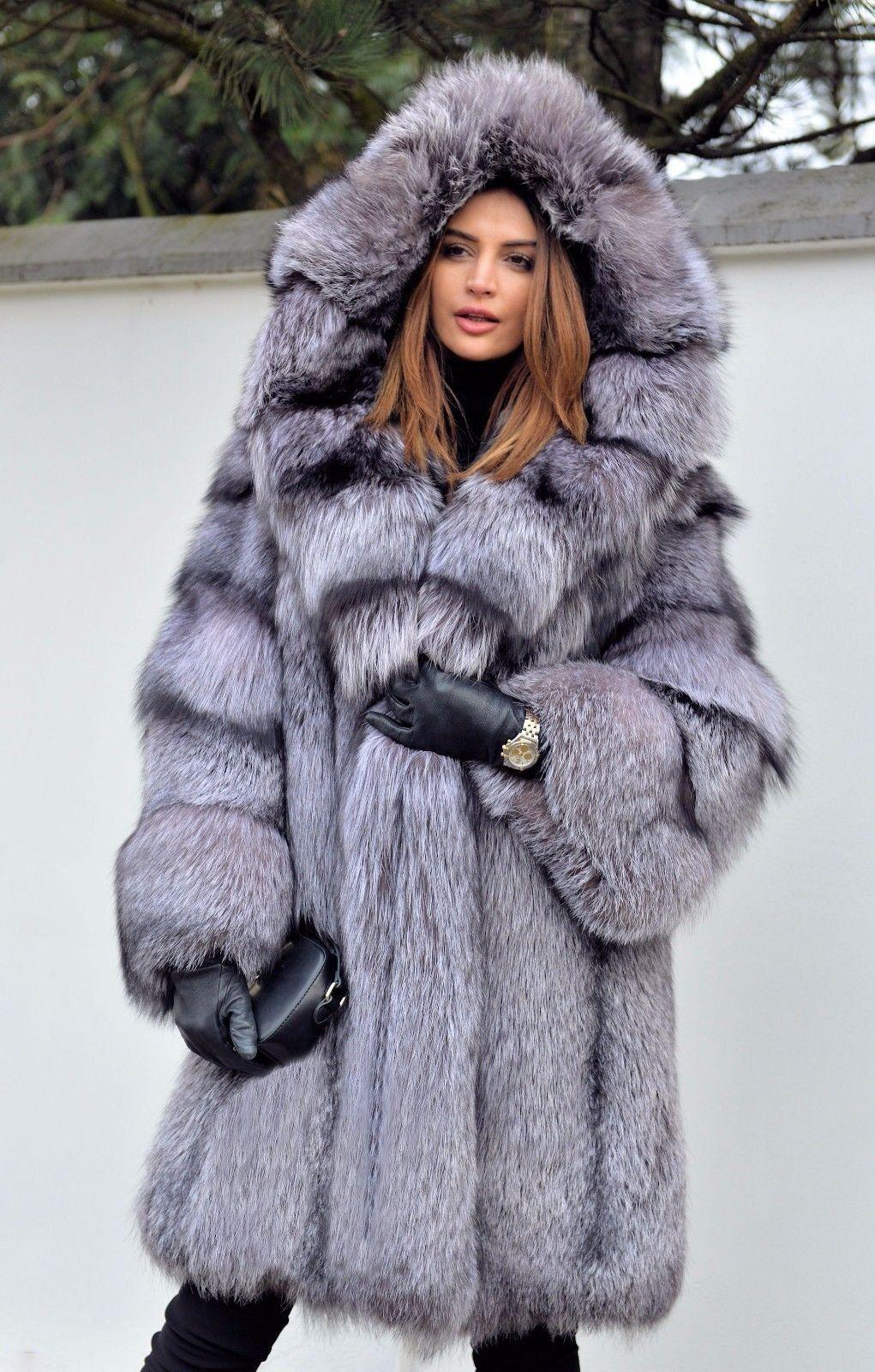 Silver Hooded Fox Fur Coat hovlly Fur fashion, Fox fur