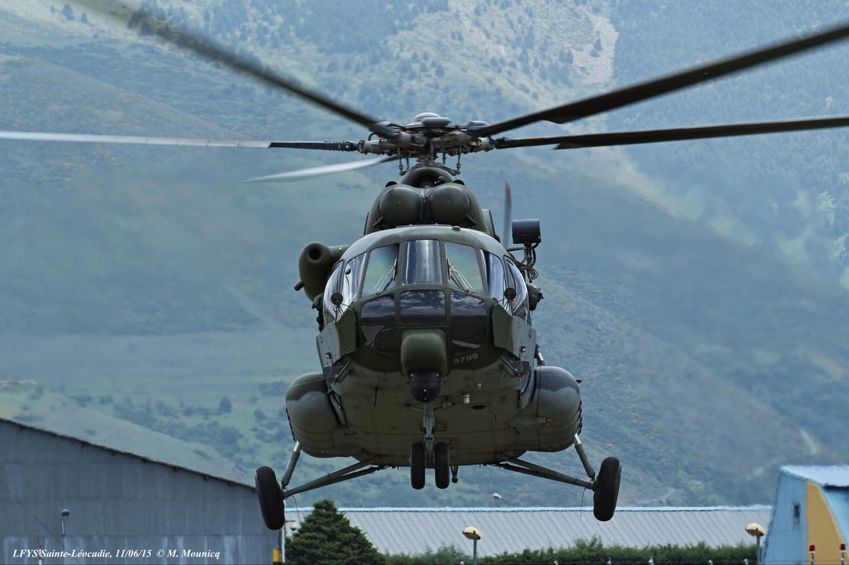"""Since Wednesday, June 10, 2015, 5 Mil Mi-17 from Czech Air Force stationed at Mountain Flight Center (CVM),Saint Leocadia,in Frenc Pyrénées-Orientales (66).Created in June 1960,center,under direction of School of Light Aviation of the Army (EALAT),aims to educate and train French and foreign helicopter pilots to mountain flight.Mountain flying is difficult exercise because,according to an Army article,""""low air density, erratic aerology and a loss of the reference horizon."""""""