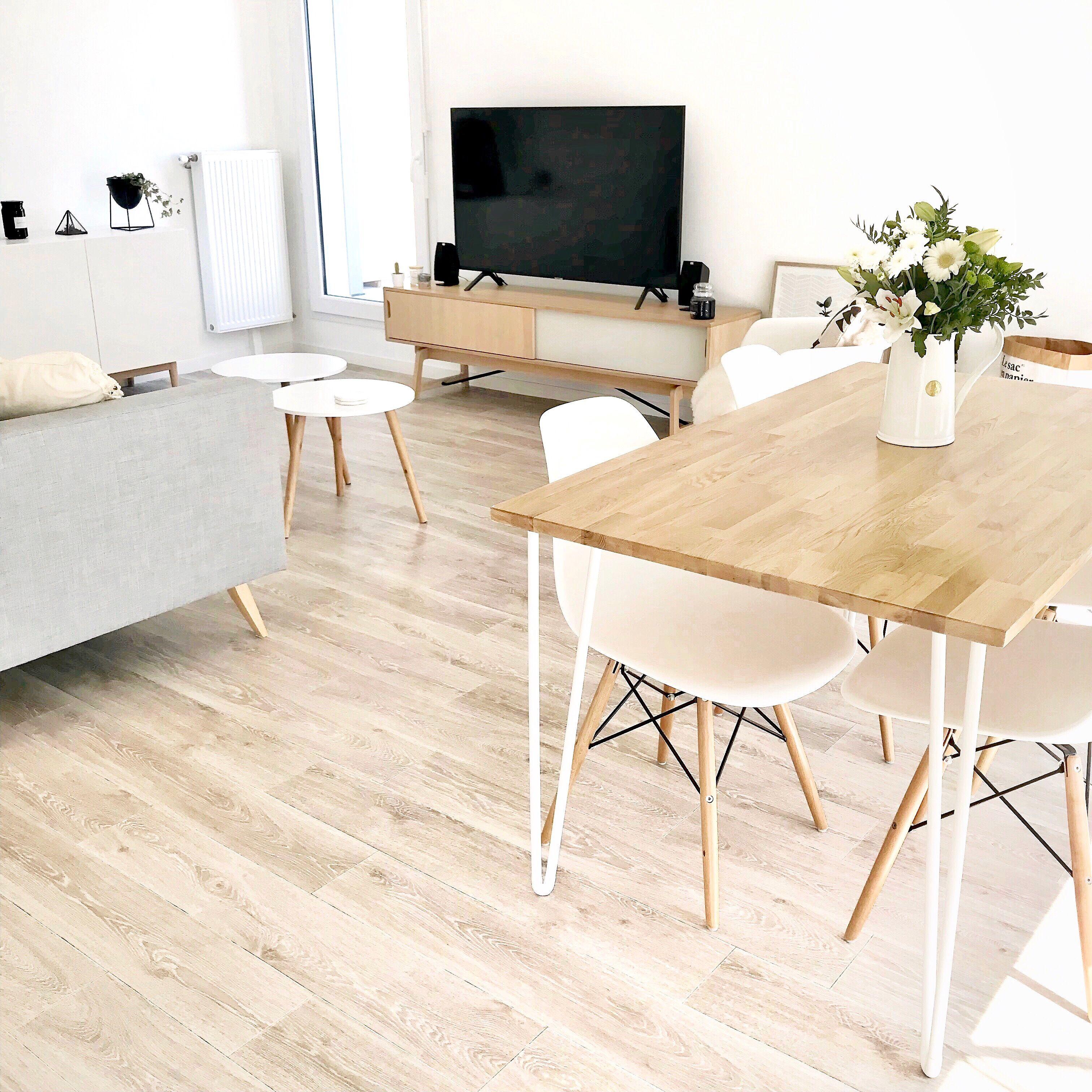 salon sejour scandinave blanc et bois