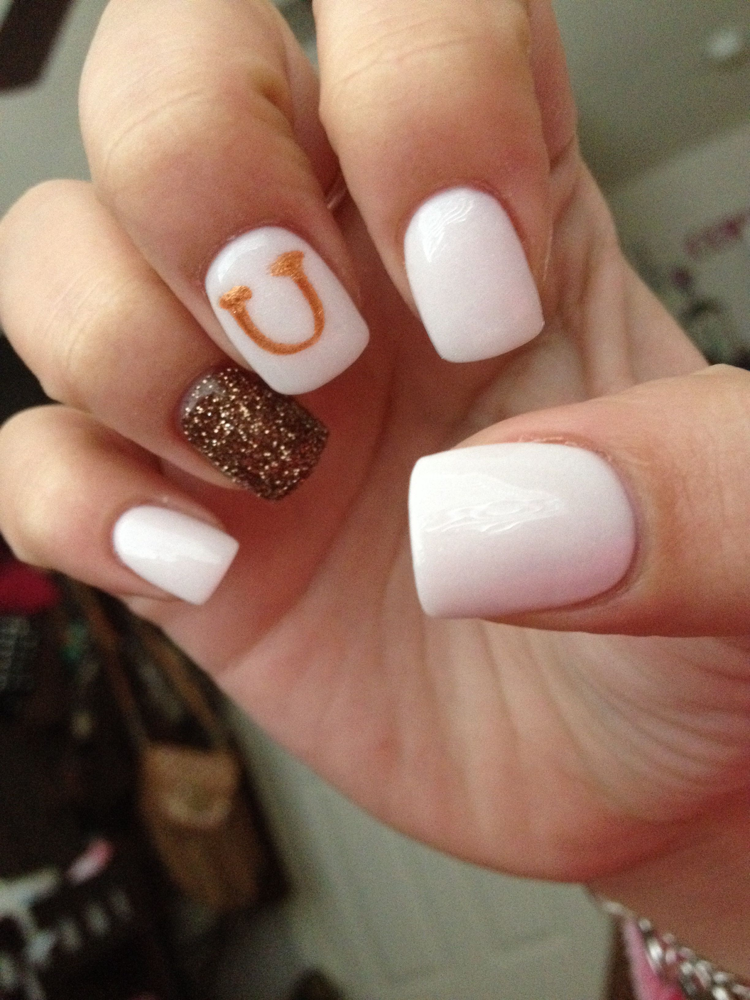 Rodeo nails, white nails, horseshoe on nails, pretty and simple for ...