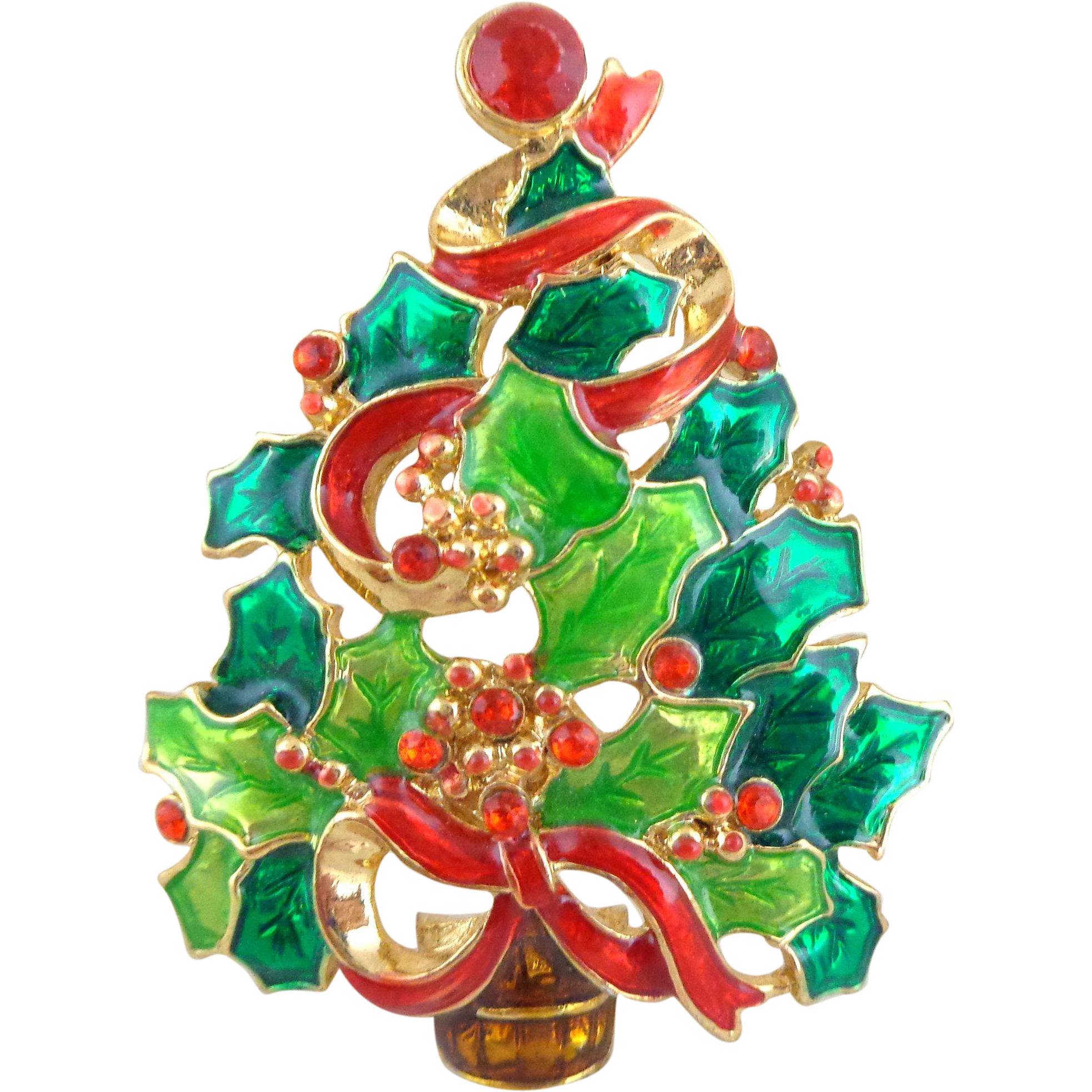 Vintage Christopher Radko Enamel Holly Leaf Christmas Tree