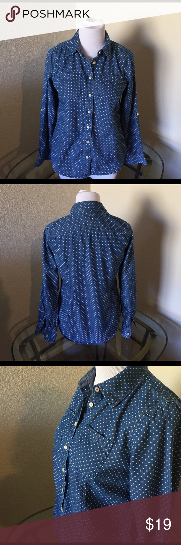 Talbots's Petite  4 blue with white polka dots Size Petite 4 button down blue with white polka dots. The blue is a little lighter than the photos.  Good used condition. Talbots Tops Button Down Shirts