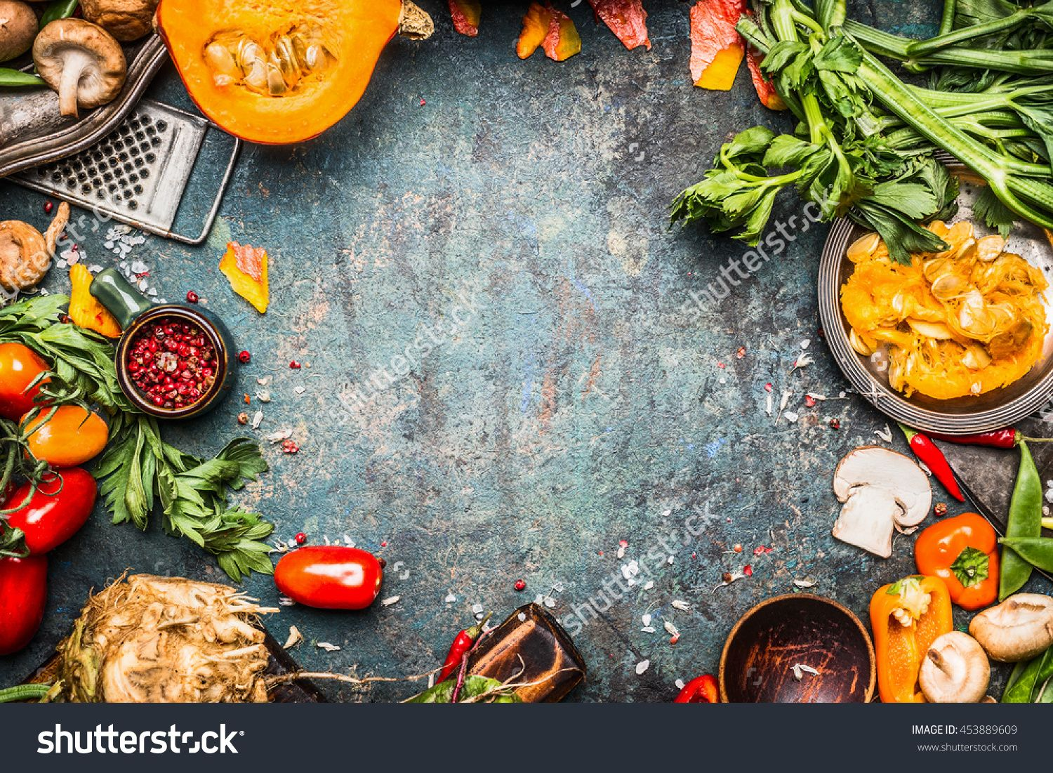 Autumn Vegetables Cooking Preparation . Pumpkin, Tomatoes, Root ...