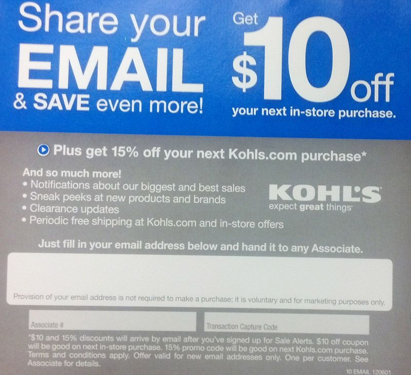 Kohls Coupon at register