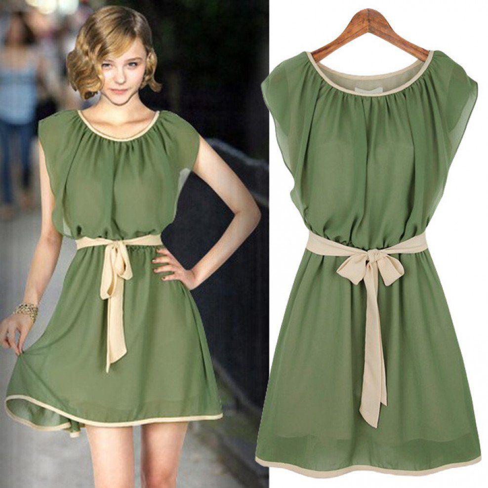 9b268f90c6d MKFS Chiffon Lotus Leaf Short Sleeve Mini Pleated Dress with Belt ...