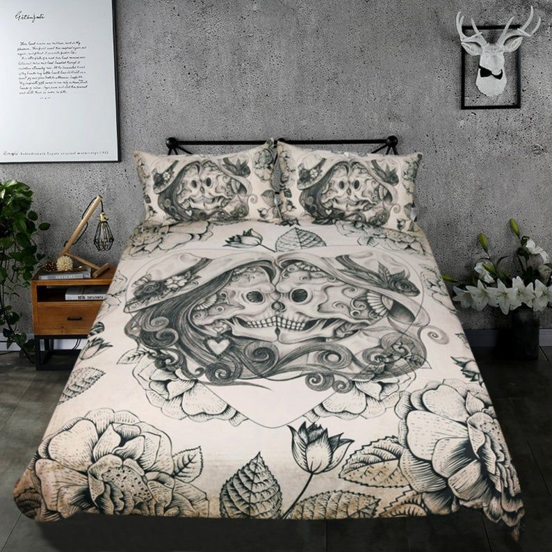High Quality Bedding Sets Vintage 3d Printed Retro Skull Duvet