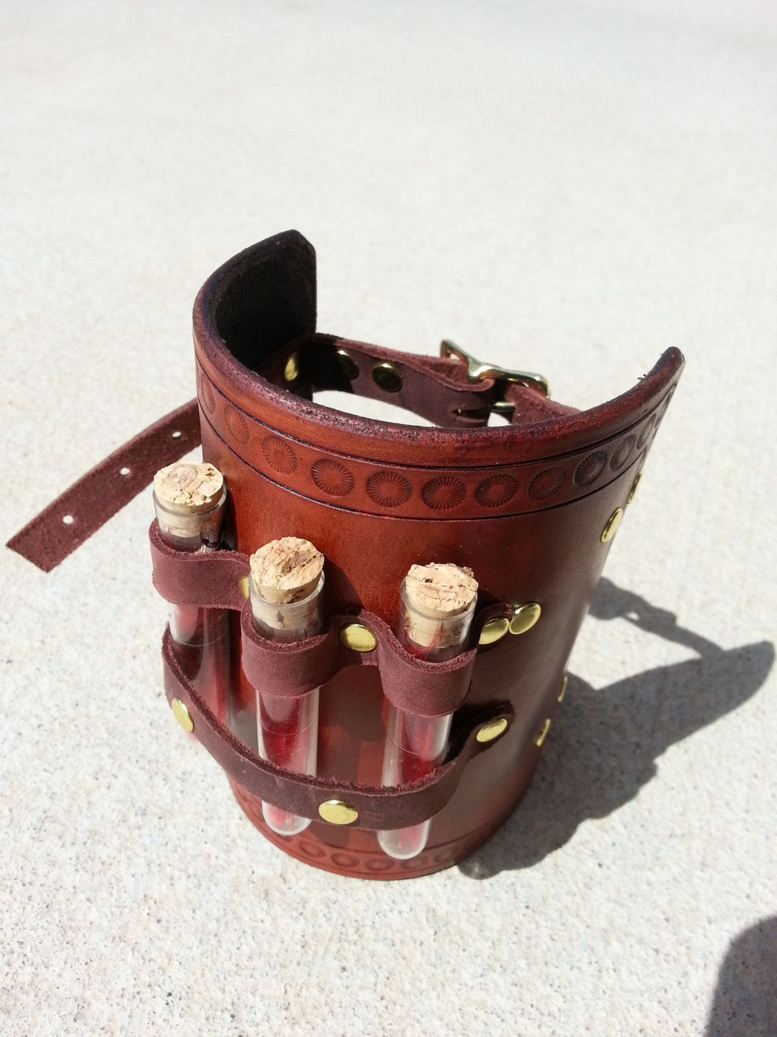Hand Tooled Leather Alchemy Steampunk Costume Bracer with Vials. :-)
