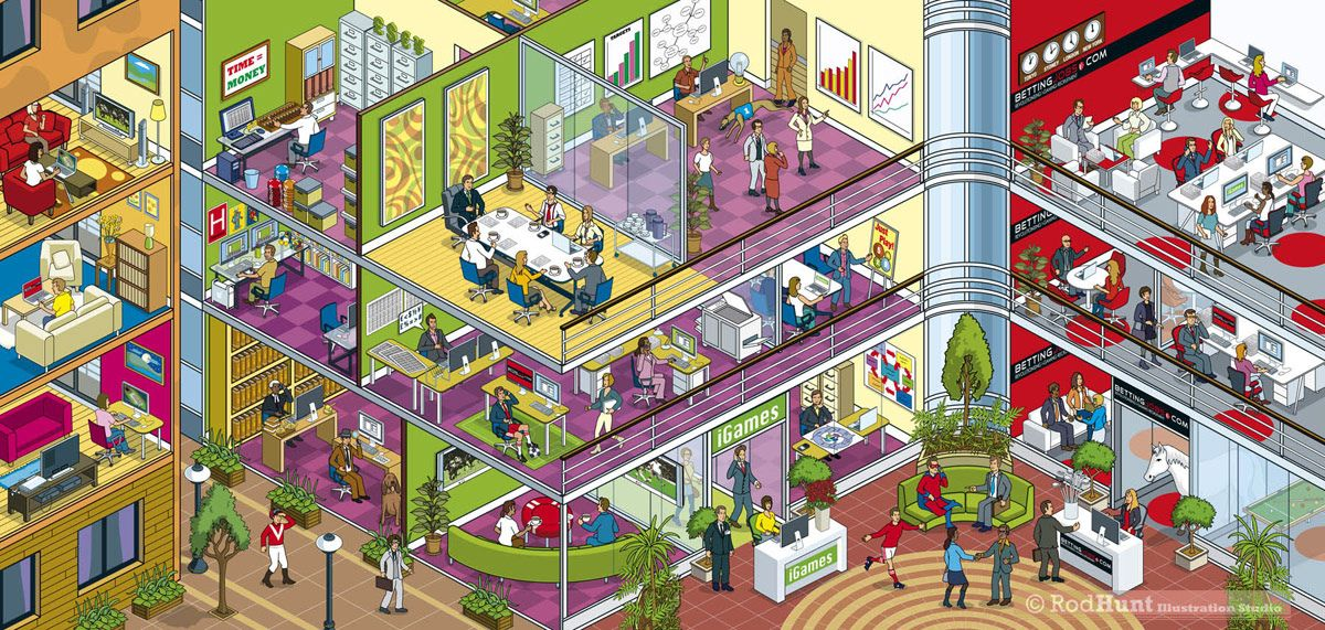 Isometric Business Illustrations Cutaway Cross Section Office Building With Company Departments Rod Hunt Provided The Pixel Art Illustration Isometric Art