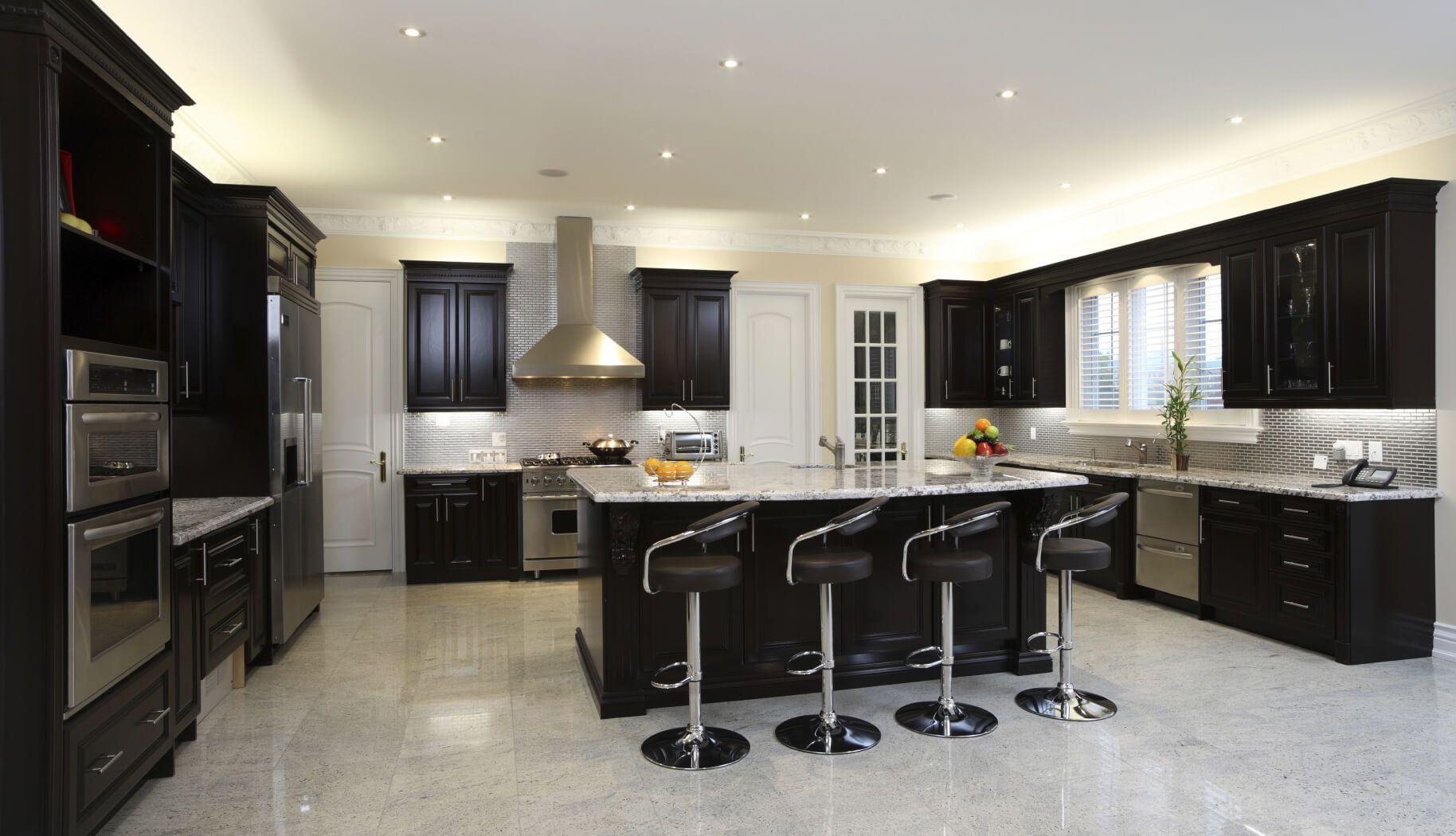 52 Dark Kitchens With Dark Wood And Black Kitchen Cabinets Dark Kitchen Cabinets Modern Kitchen Colours Kitchen Cabinet Design