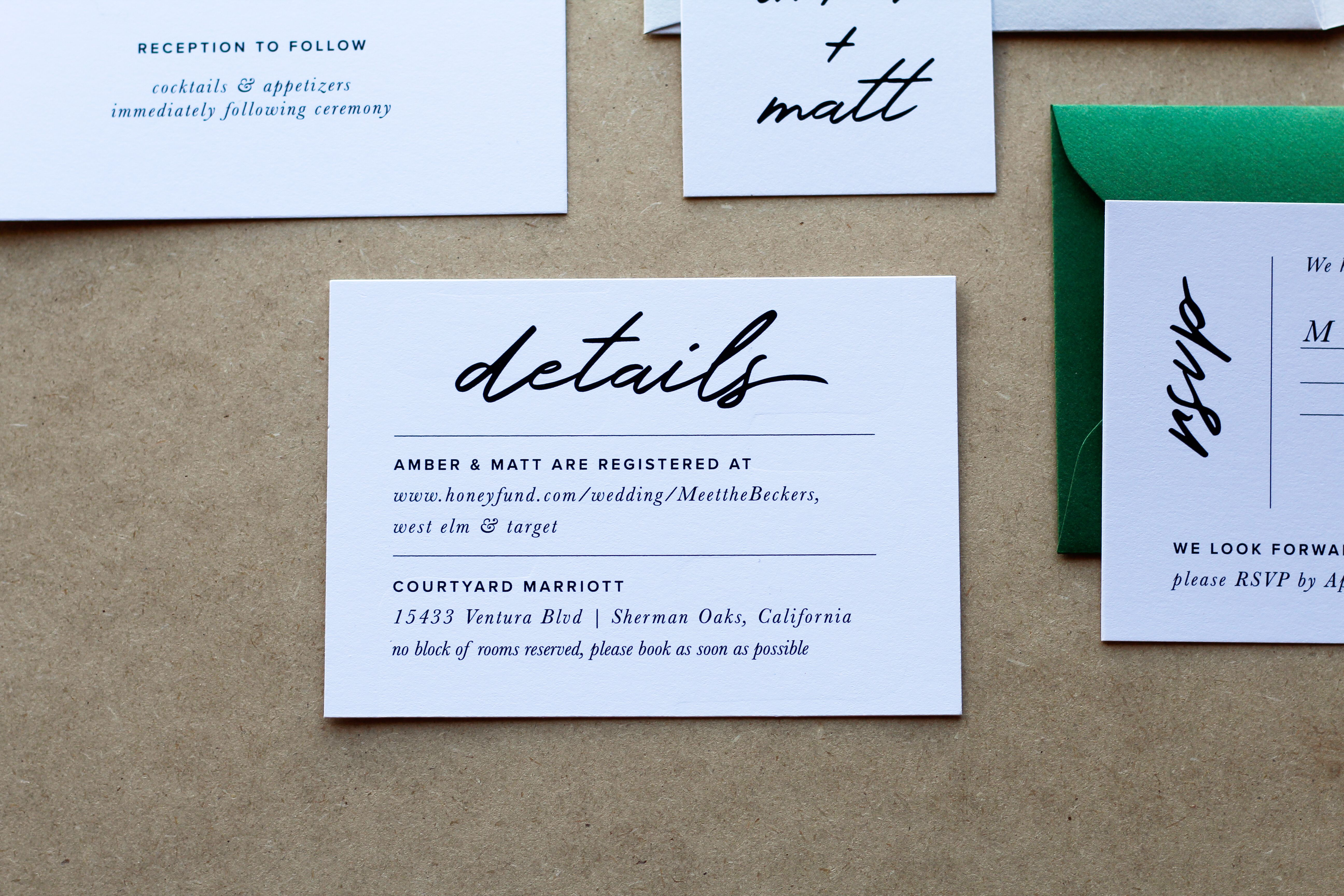 Close up details card & RSVP card with Mid Green Envelopes