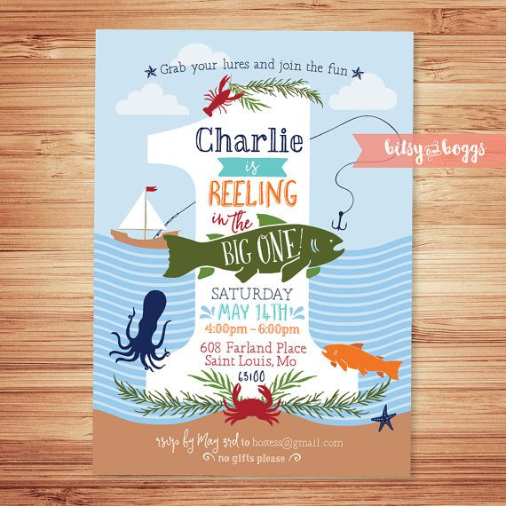 Reeling In The Big ONE // Fishing First Birthday Invite