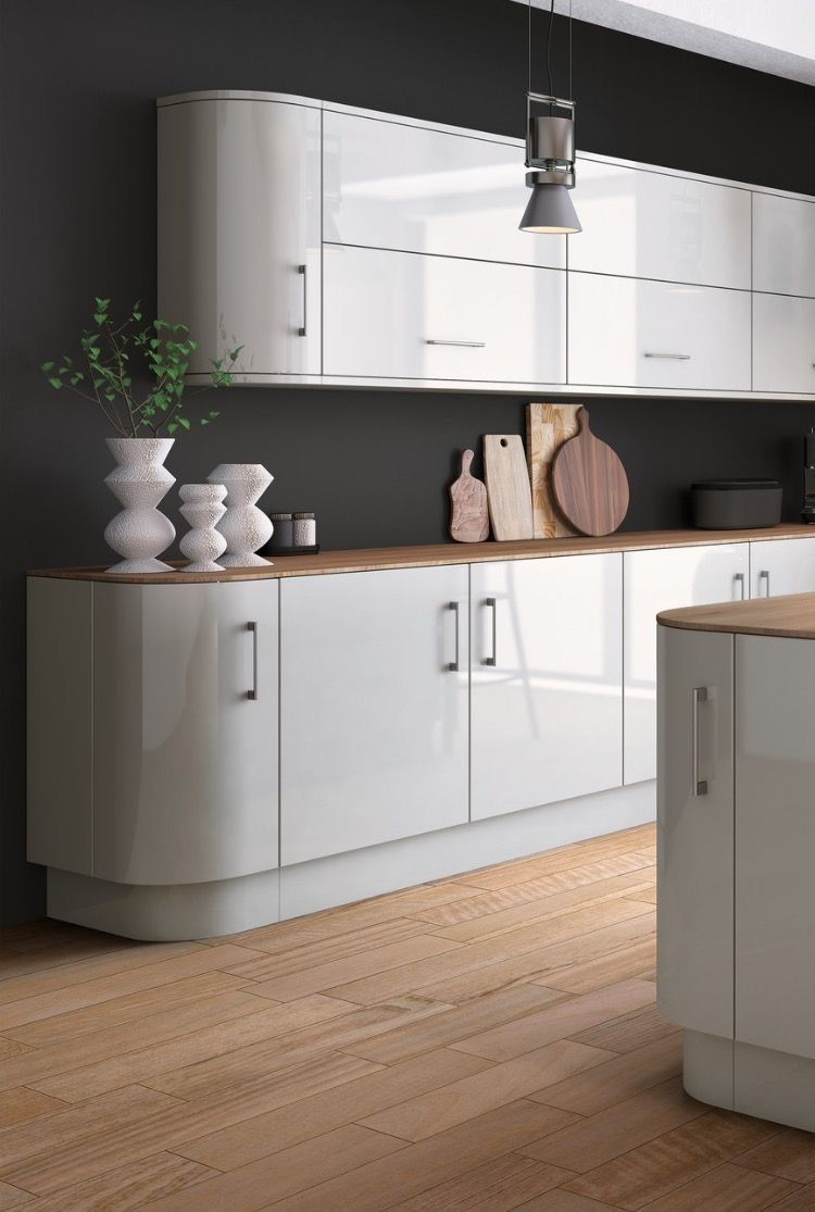 Zurfiz light grey high gloss acrylic kitchen doors light grey