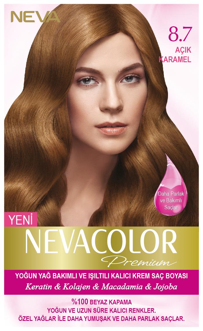 Nevacolor Premium 8 7 Acik Karamel Kalici Krem Sac Boyasi Seti