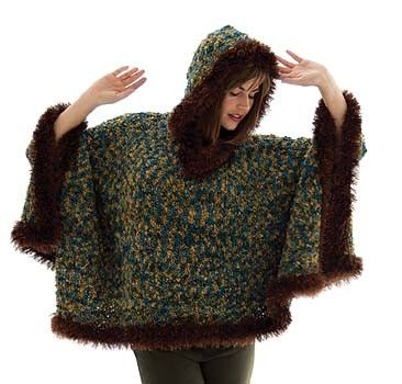 Fur Trimmed Boucle Poncho Pattern Knit Only Free Knitting