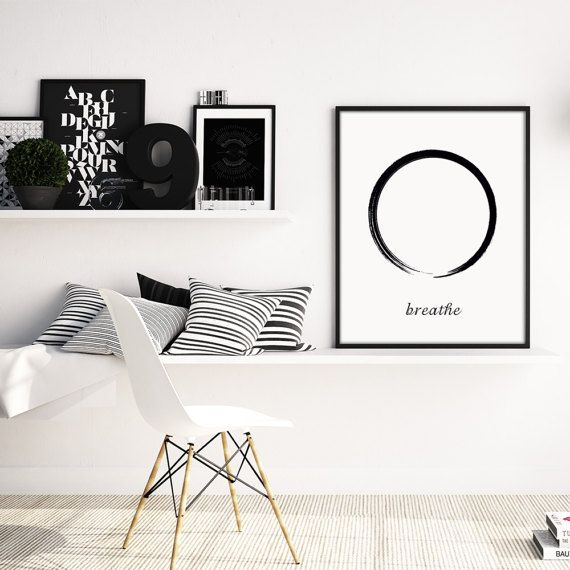 Zen print zen poster breathe poster circle print by saltandprinter