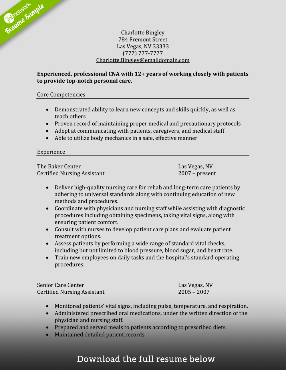 Good Cna Resume Template Download