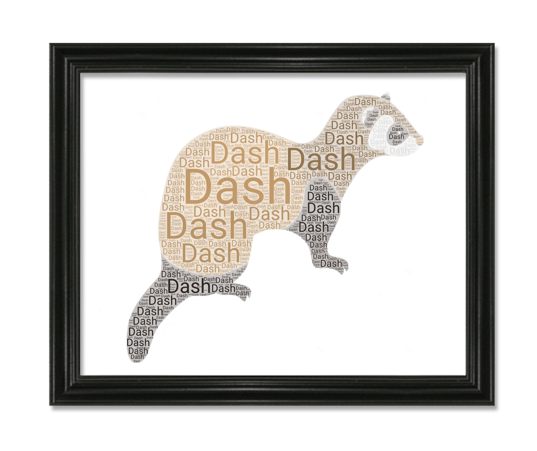 Ferret Custom Pet Name Word Art Silhouette Print