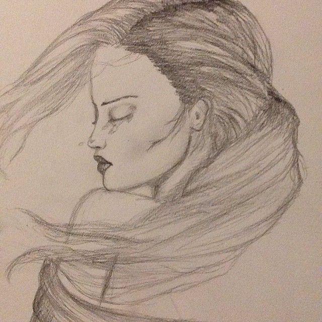 Anna crying sad girl sadgirl hair awesomehair art artist draw drawing pencilart pencil