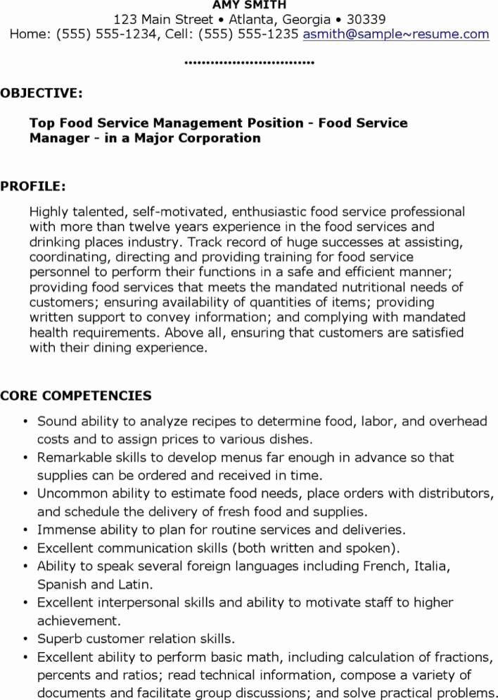 food service manager resume luxury download food service