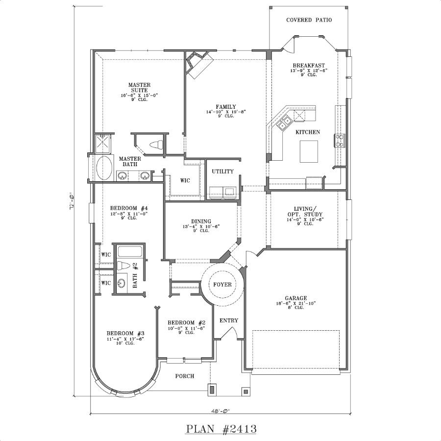 Small one story house designs - One Story 4 Bedroom House Plans