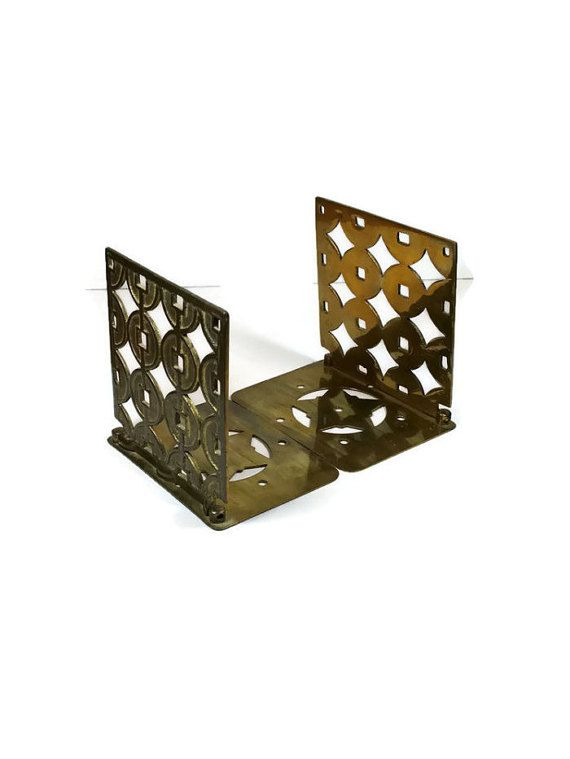 Mid Century Bookends Vintage Brass Bookends Asian Style Hollywood Regency Office Decor Desk Accessory Book Holder Bookends Brass