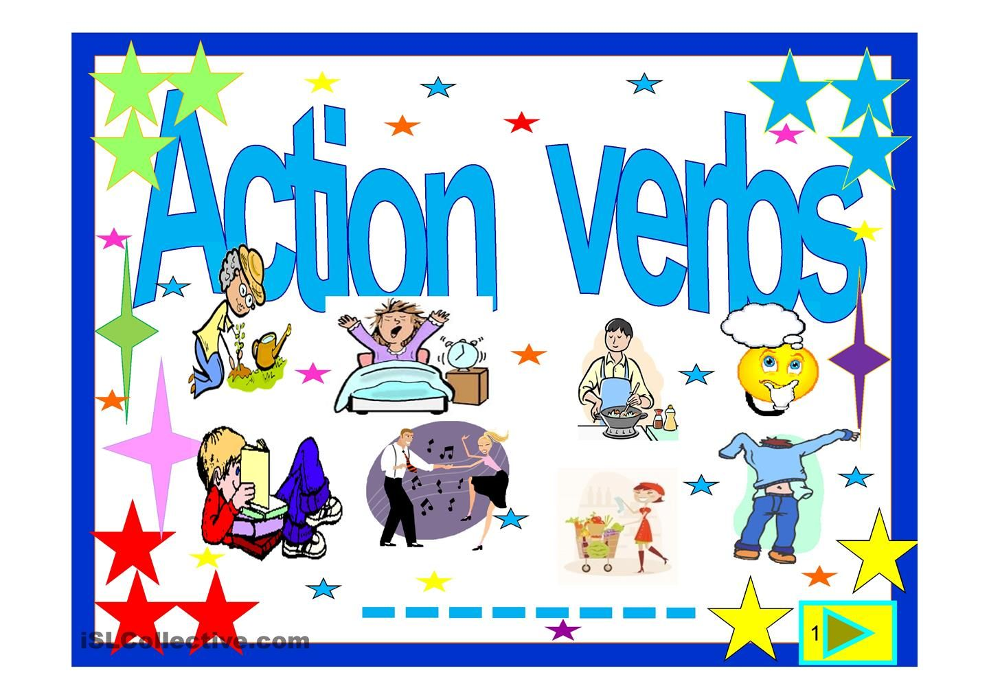 Action Verbs 55 Slide Quiz Esl Powerpoint Worksheet Of