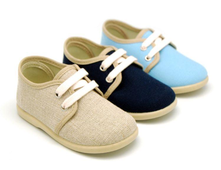 383314099 Tienda online de calzado infantil Okaaspain. Diseño y Calidad al mejor  precio fabricado en España. Zapato tipo blucher con cordones en lino para  niño.