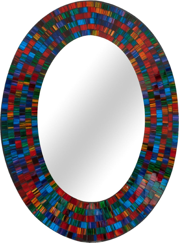 Handmade medium oval hanging mirror made from a spectrum
