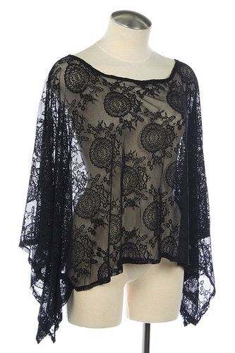Flutter Sleeve Lace Blouse Semi Sheer Poncho Cover Up Top Open V Back Black NW S | eBay