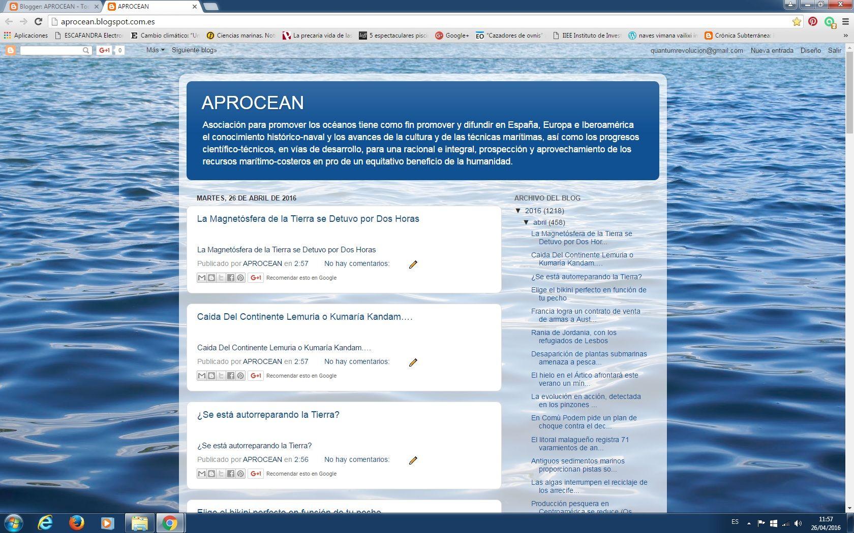 """26/04/16 11:58hs Blog """"La Caracola"""" (Aprocean) Diario de Información del Mar - D.I.M.  http://aprocean.blogspot.com.es/"""